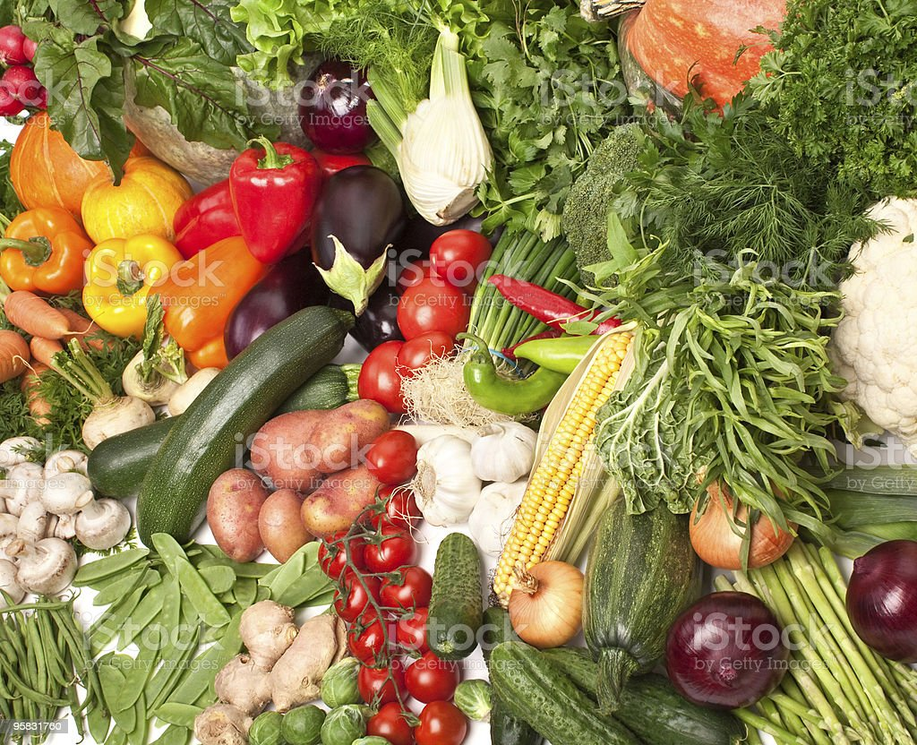 Large pile of different vegetables stock photo