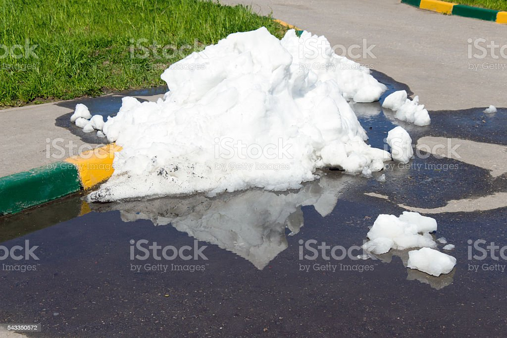 Large pile of dirty and white snow lies on the stock photo