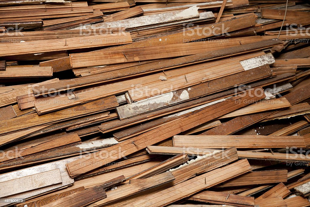large pile of hardwood floor during construction stock photo