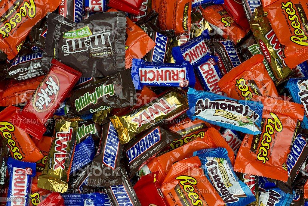 Large pile of snack size chocolate bars stock photo