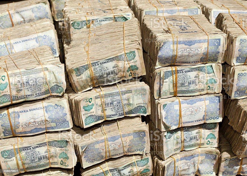 Large Pile of Somaliland Shillings stock photo