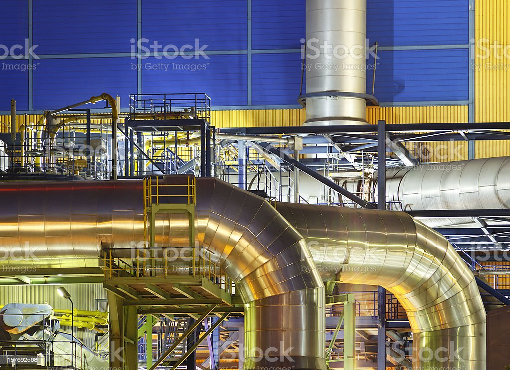 Large Pipes Of An Incinerator Plant stock photo