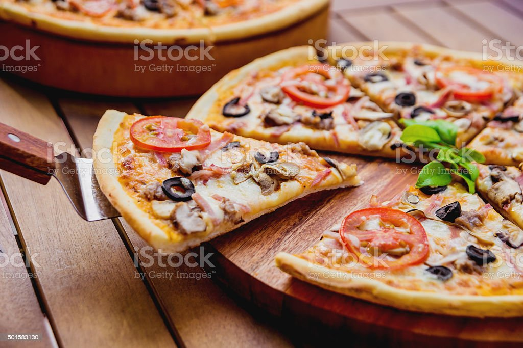 Large pizza stock photo