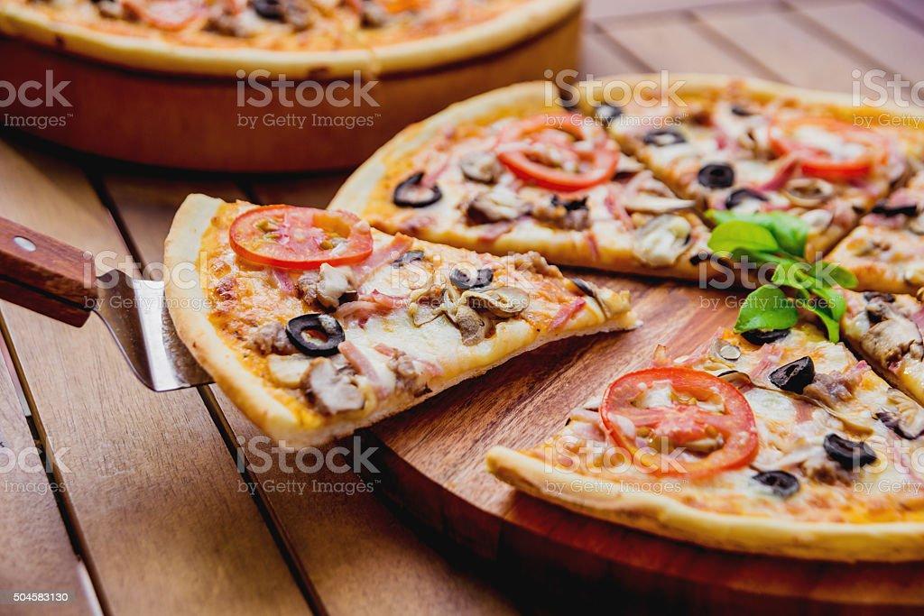 Large pizza stock photo