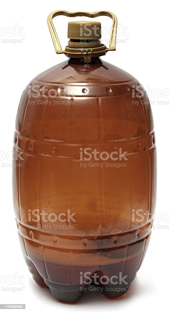 Large Plastic brown bottle of beer isolated on white background royalty-free stock photo