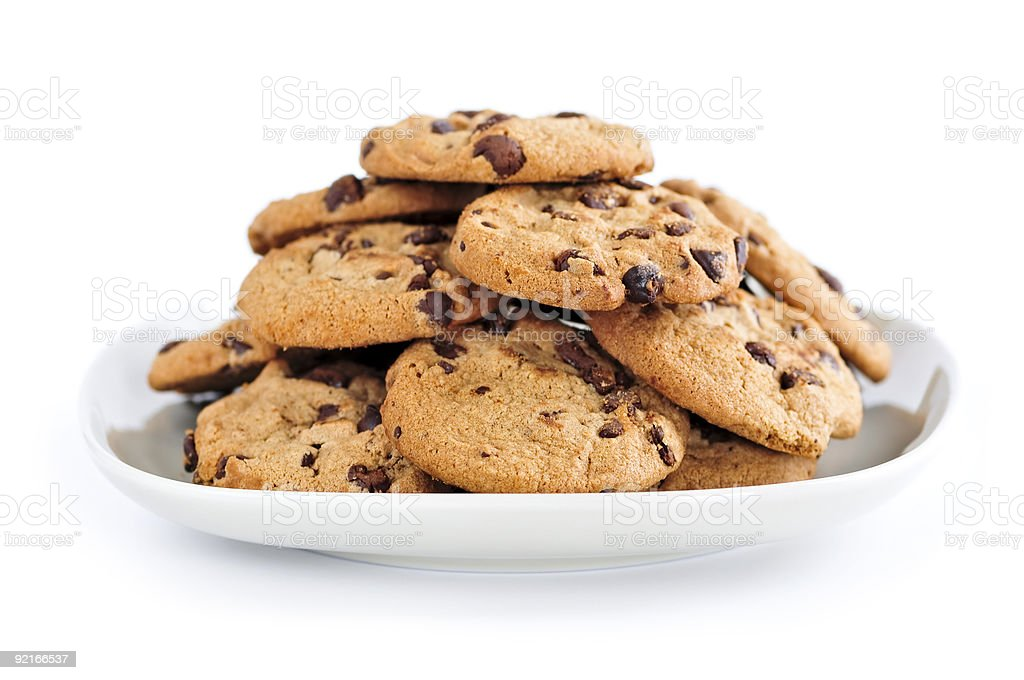 A large plate of chocolate chip cookies stock photo