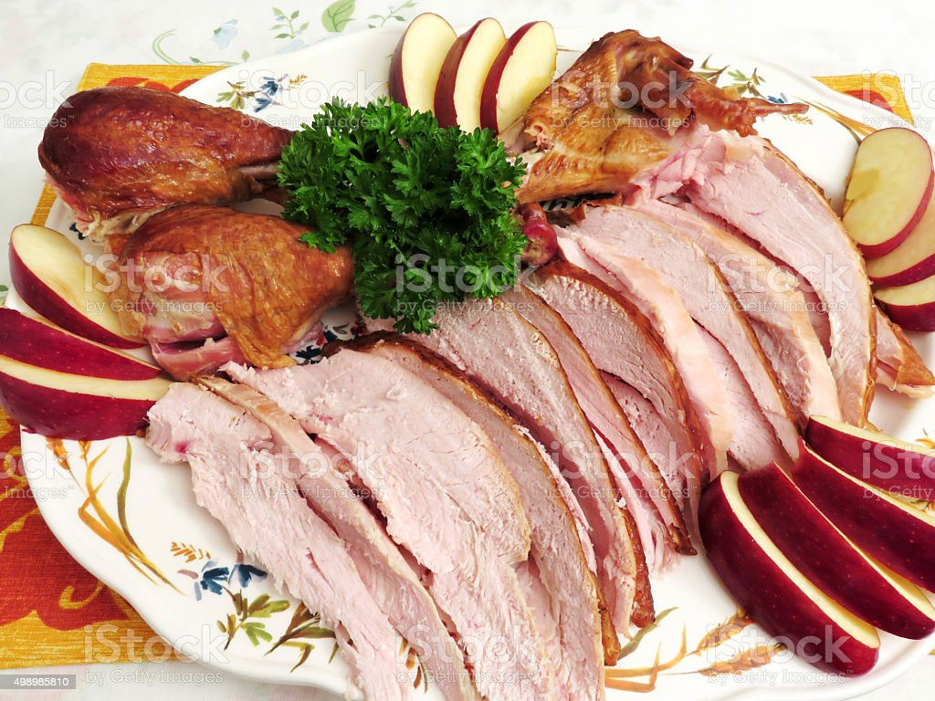 Large Platter of Smoked Turkey for Dinner stock photo