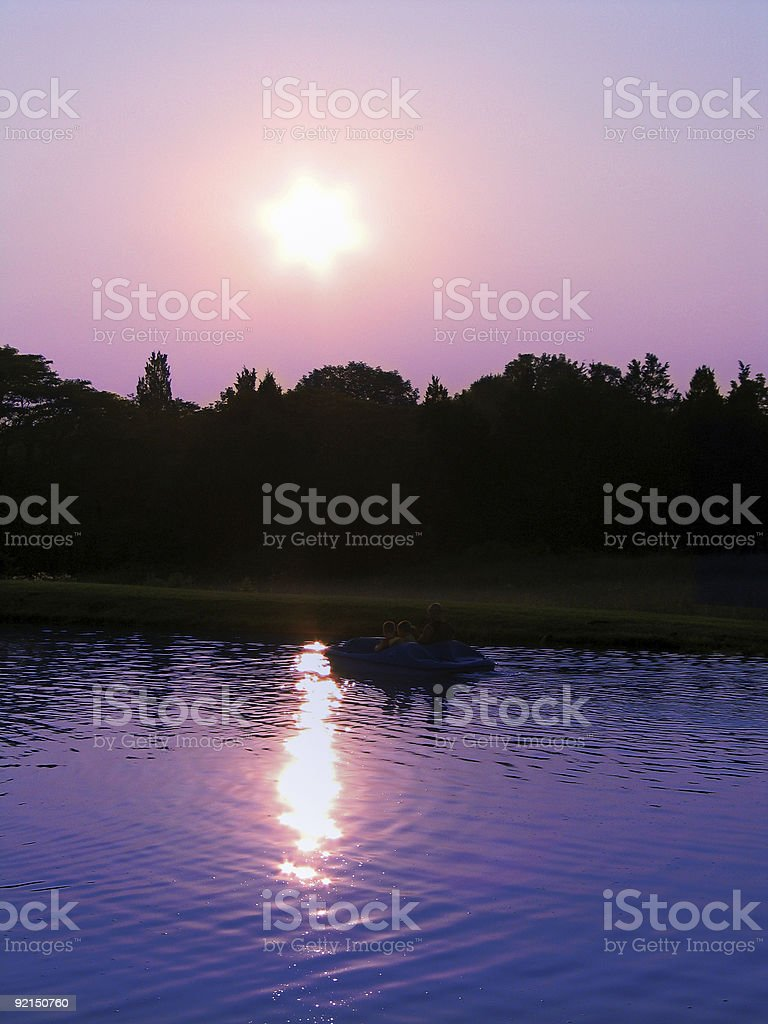 Large Pond and Paddle Boat stock photo