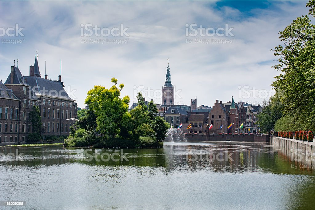 Large pond government district the Hague Netherlands stock photo
