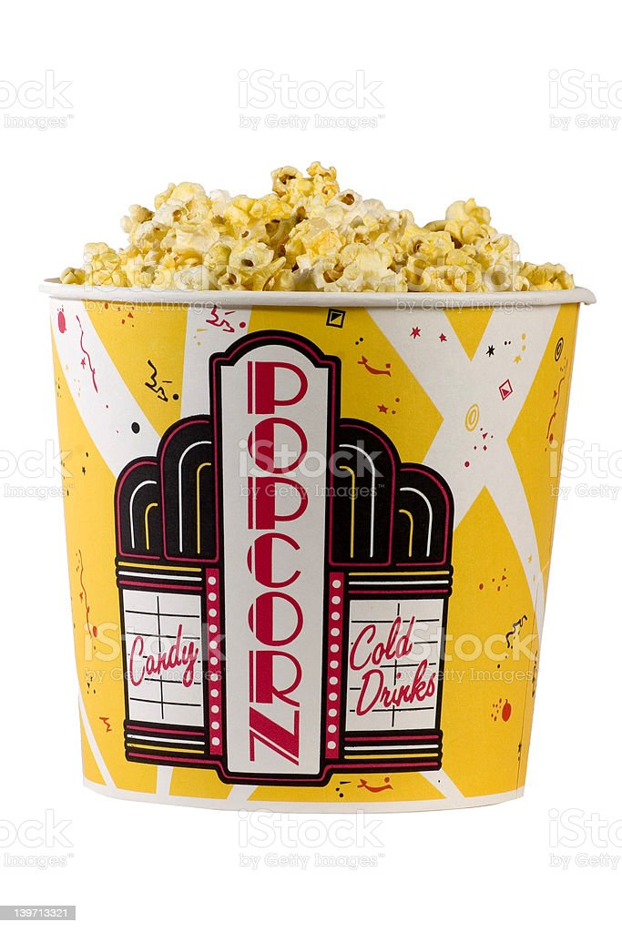Large popcorn bucket stock photo