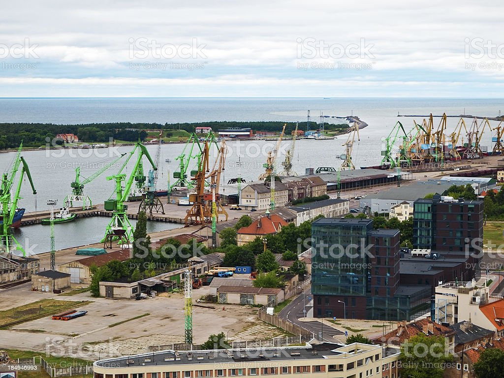 Large port in Klaipėda stock photo