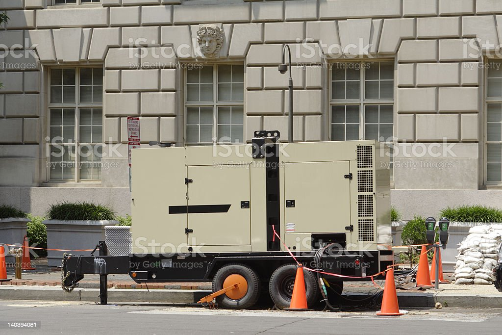 Large Portable Generator on Street Outside stock photo