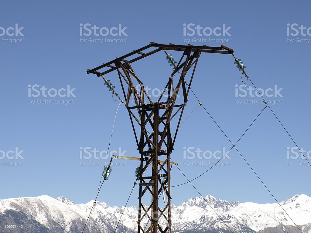 large power pylons with electricity line for high voltage transport royalty-free stock photo