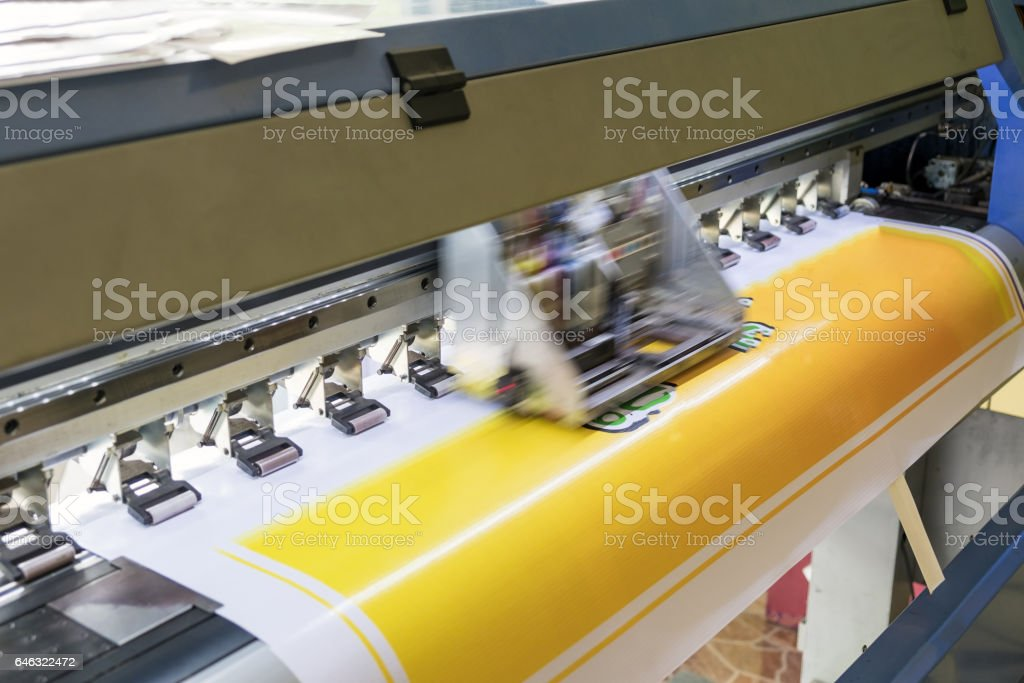 Large printer format inkjet working detail color stock photo
