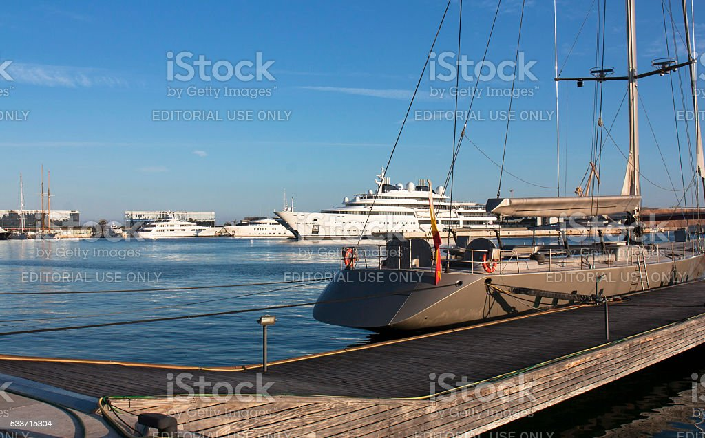 Large private yachts in harbor - Spain. stock photo
