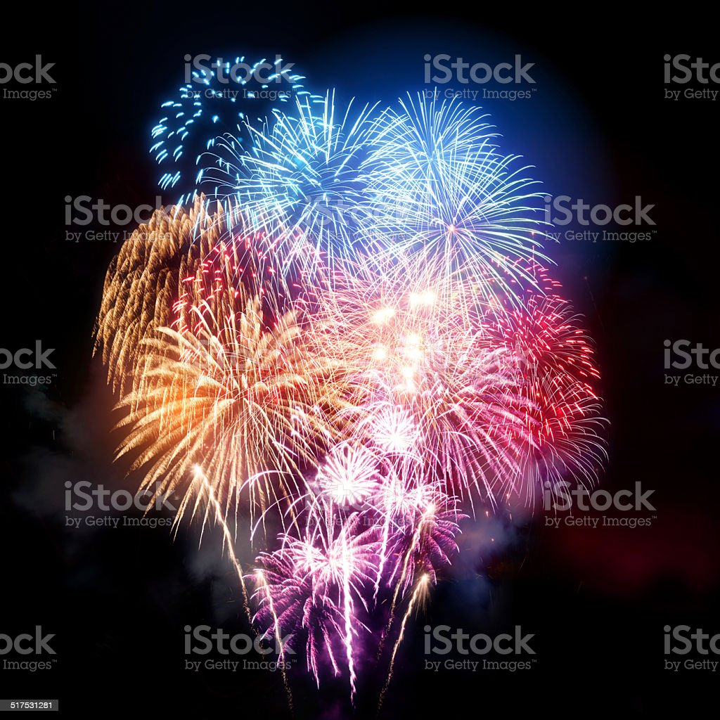 Large Professional Fireworks Display stock photo