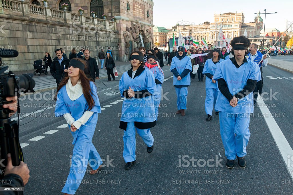 Large protest held by Iranians in Stockholm - Sweden royalty-free stock photo