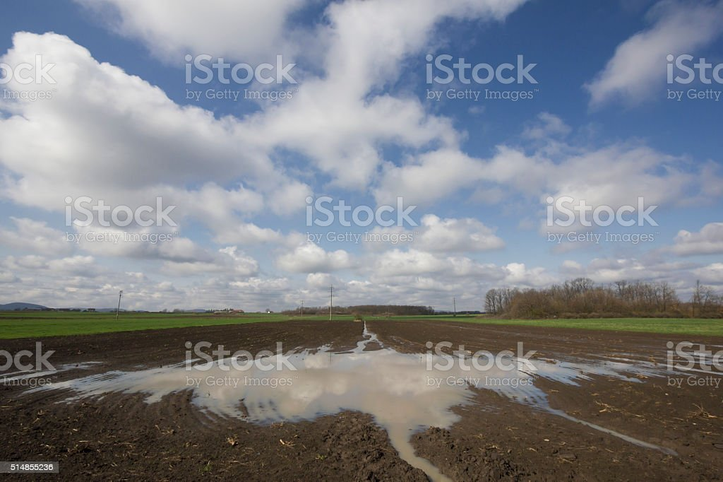 Large puddle on agriculture field prepared for sowing stock photo