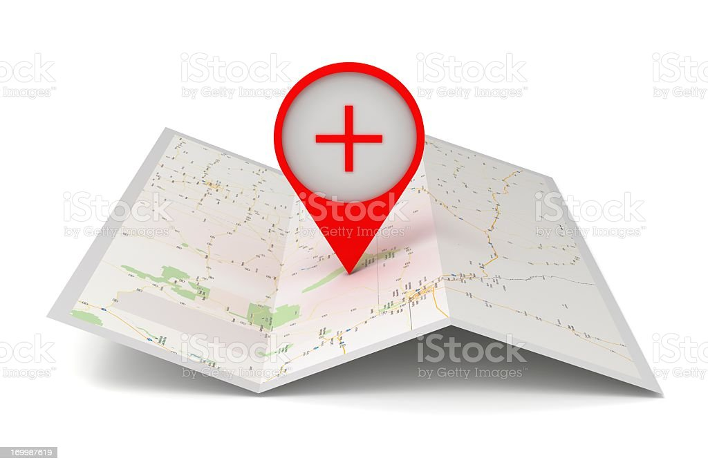 Large pushpin on a map to show location stock photo