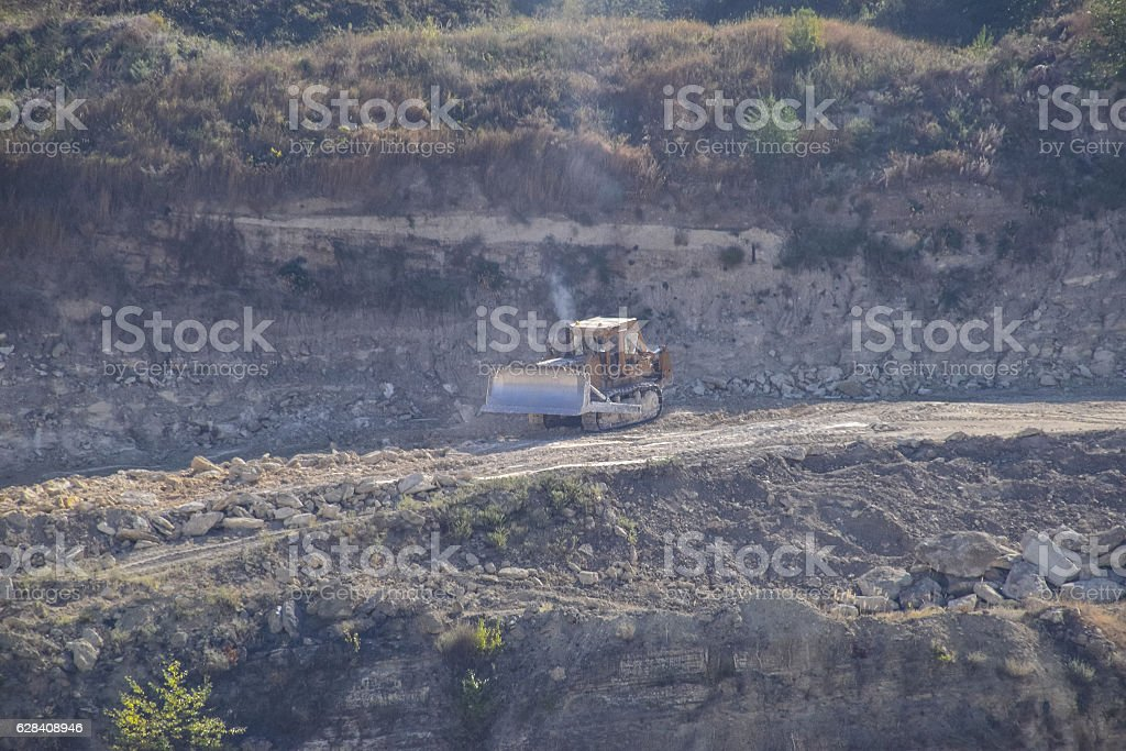 Large quarry for gravel mining, sand and clay stock photo