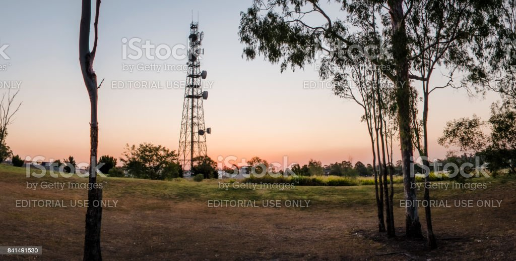 Large radio and communications tower in Queensland. stock photo
