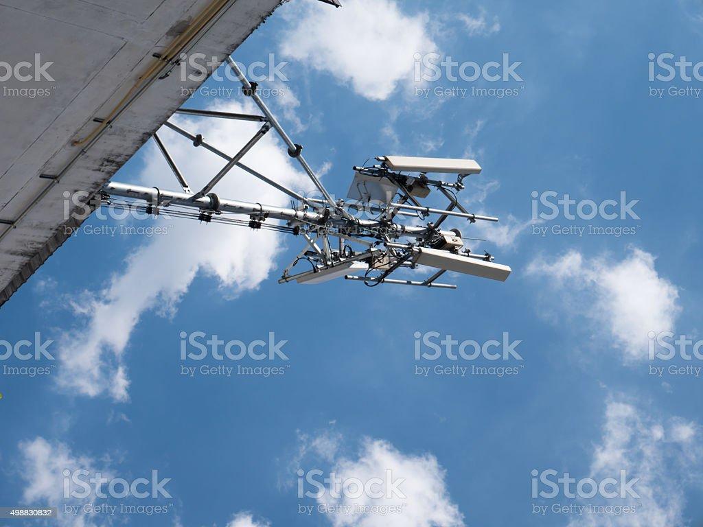 large radio antenna stock photo
