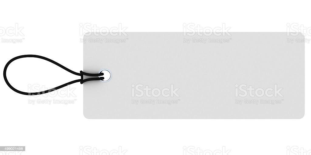 Large Rectangular Blank White Price Tag Isolated on White stock photo