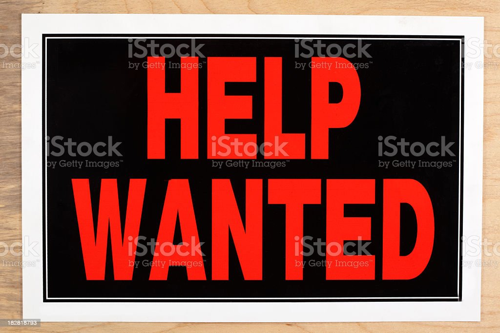 Large red and black help wanted sign stock photo