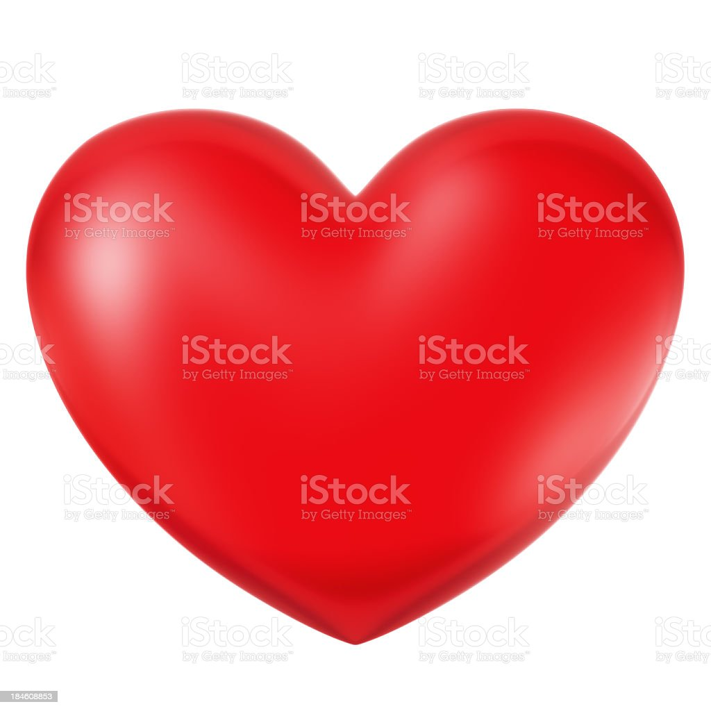 Large red heart against white background royalty-free stock photo
