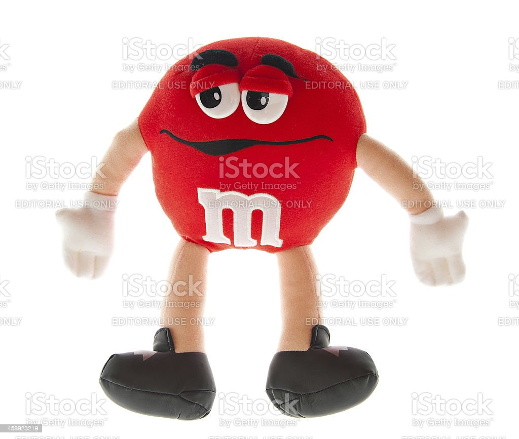 Large Red M&M Candy Plush Doll stock photo