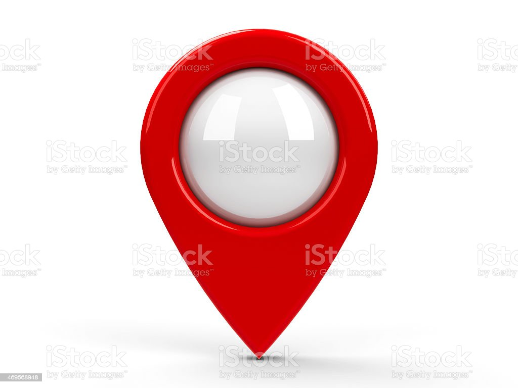 A large red map pointer isolated on a white background stock photo
