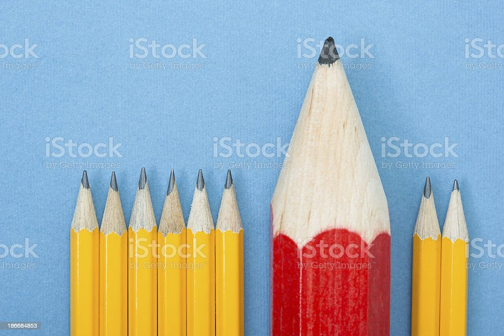 Large red pencil among several small yellow pencils stock photo