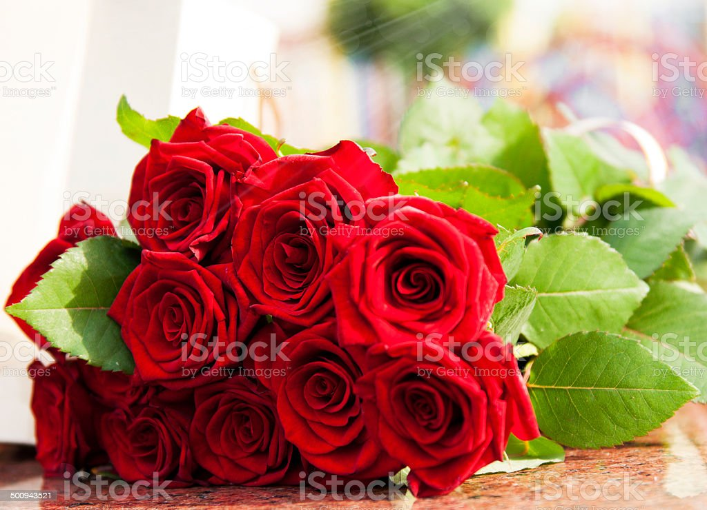 Large Red rose bouquet stock photo