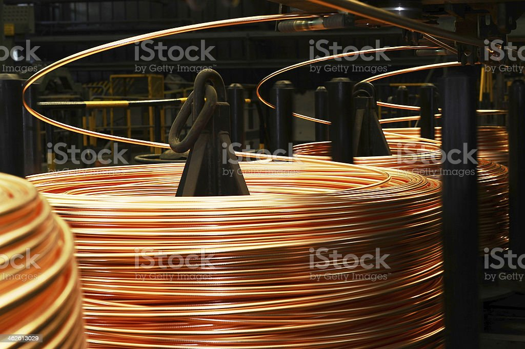 Large reels of thick copper wire stock photo