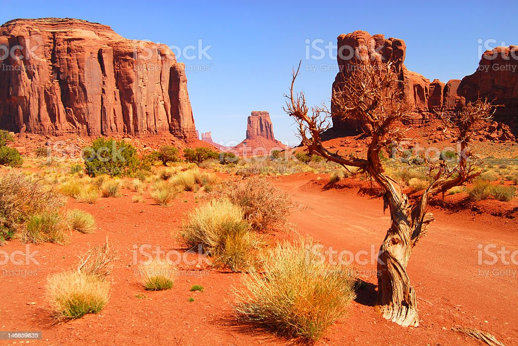 Large rock formations in the Navajo park Monument Valley stock photo
