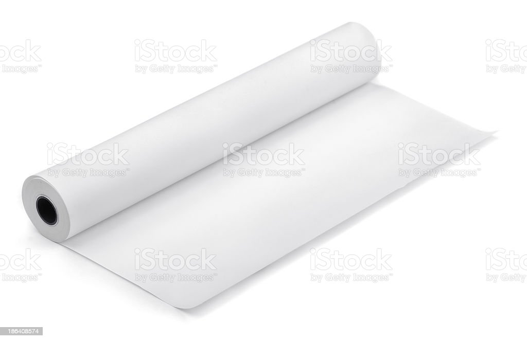 Large roll of blank white paper on a white background stock photo