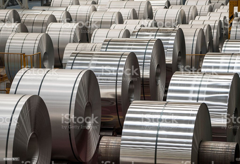 Large rolls of sheet aluminium stock photo