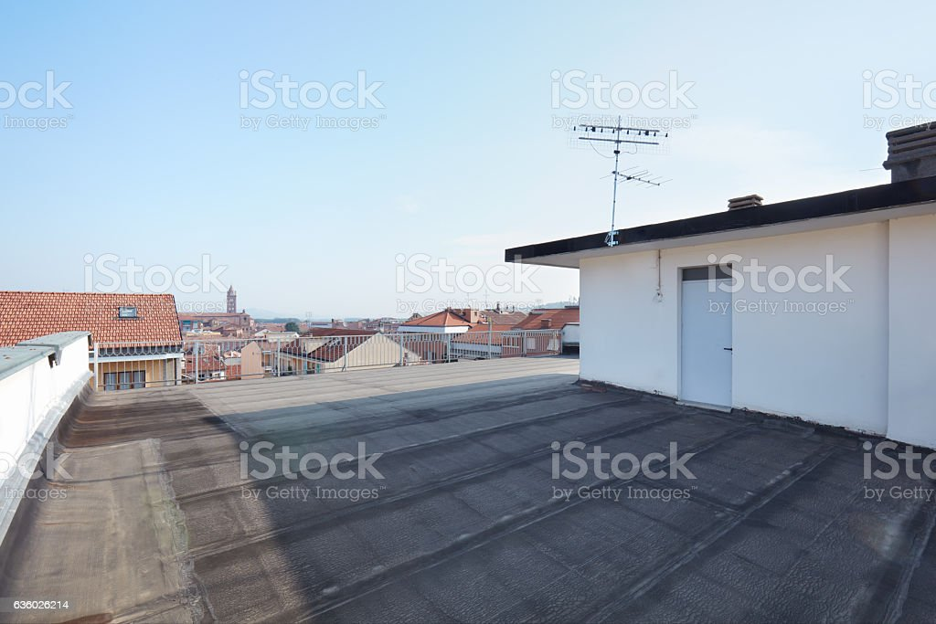 Large rooftop balcony in a sunny day stock photo