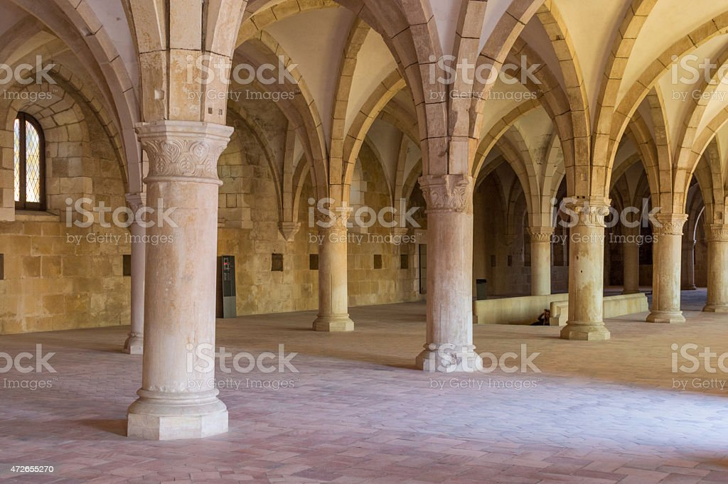 Large room in an abbey in gothic style stock photo