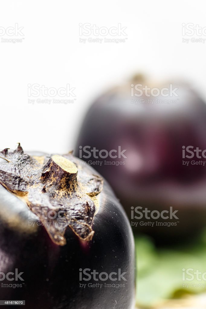 large round eggplant of a vegetable indigenous to Kyoto. Japan stock photo