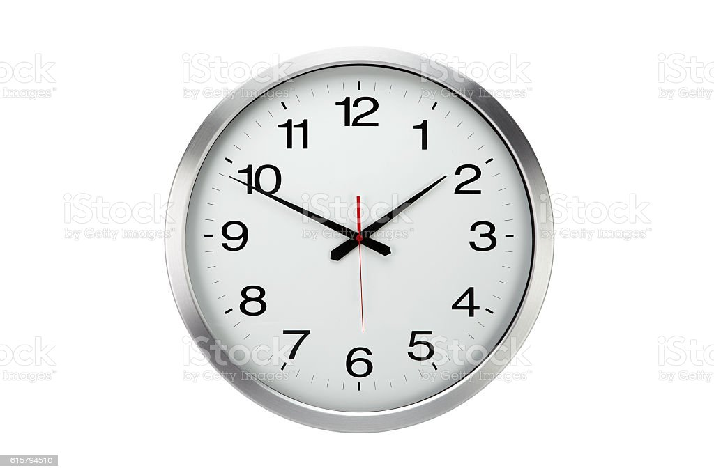 Large round office wall clock  isolated stock photo