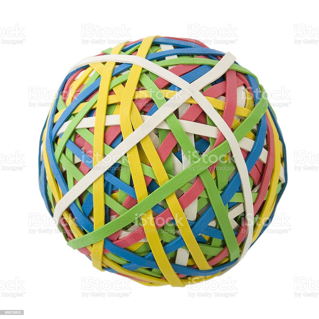 Large Rubberband Ball Over White stock photo