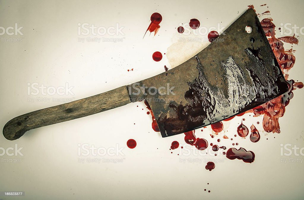 Large Rusty Blood-Smeared Cleaver on White Background 4 stock photo