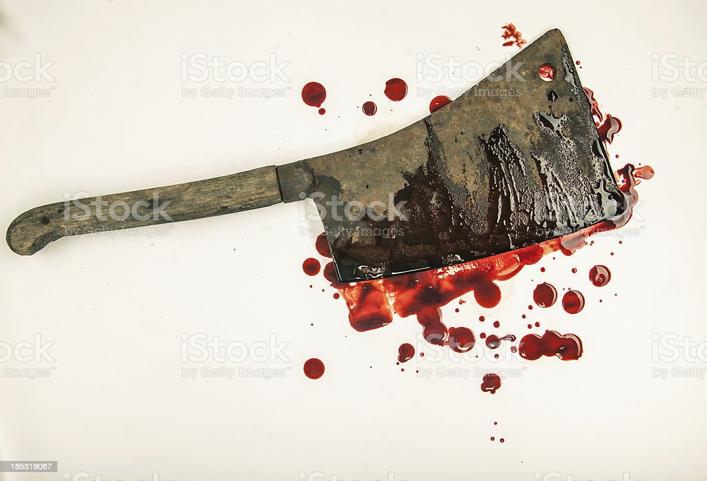 Large Rusty Blood-Smeared Cleaver on White Background 5 stock photo
