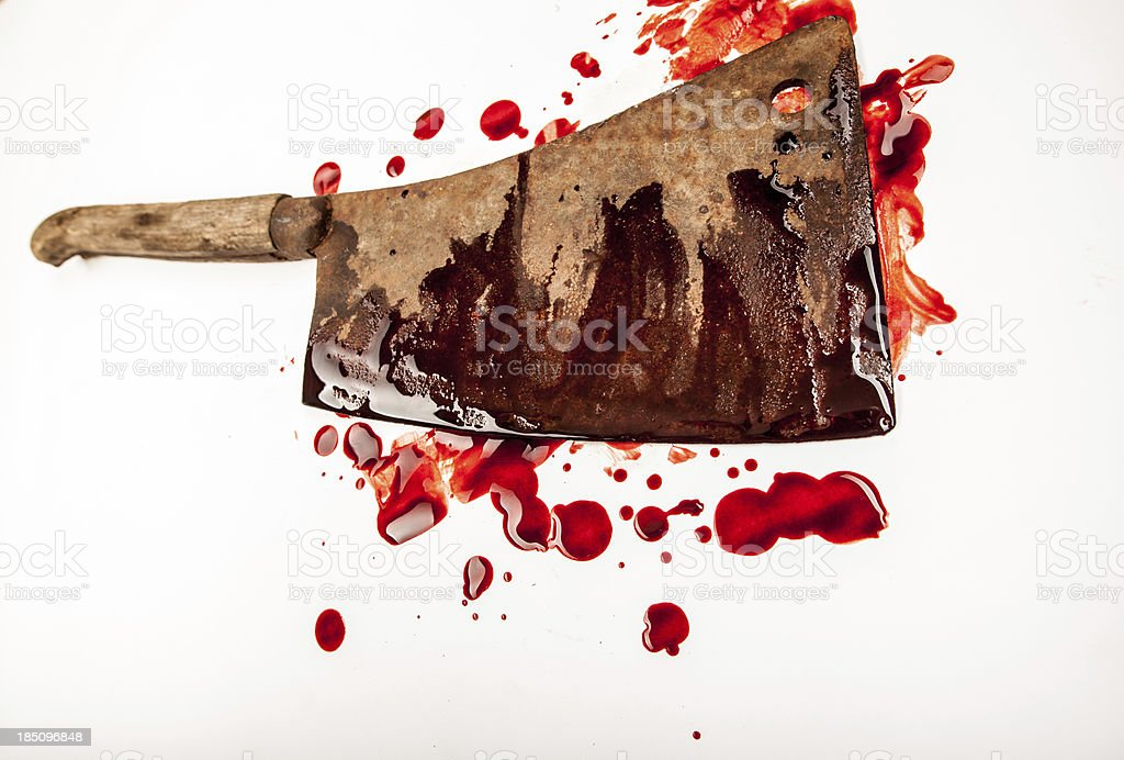 Large Rusty Blood-Smeared Cleaver on White Background stock photo