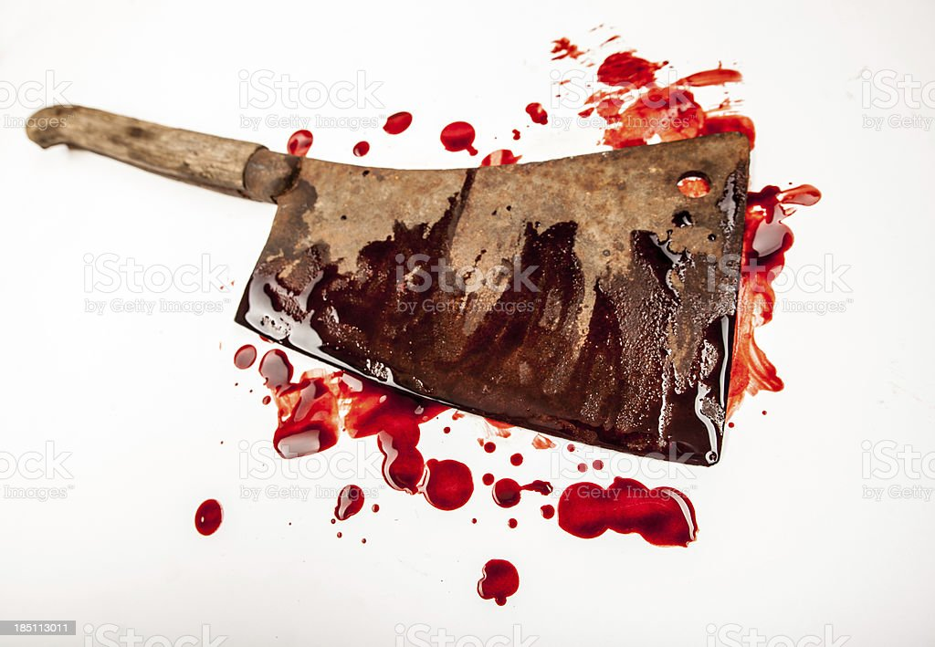 Large Rusty Blood-Smeared Cleaver stock photo