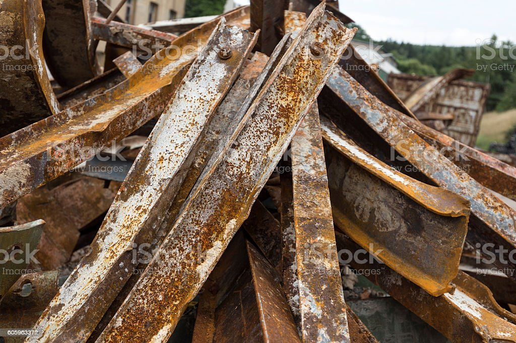 Large rusty steel beams for recycling stock photo