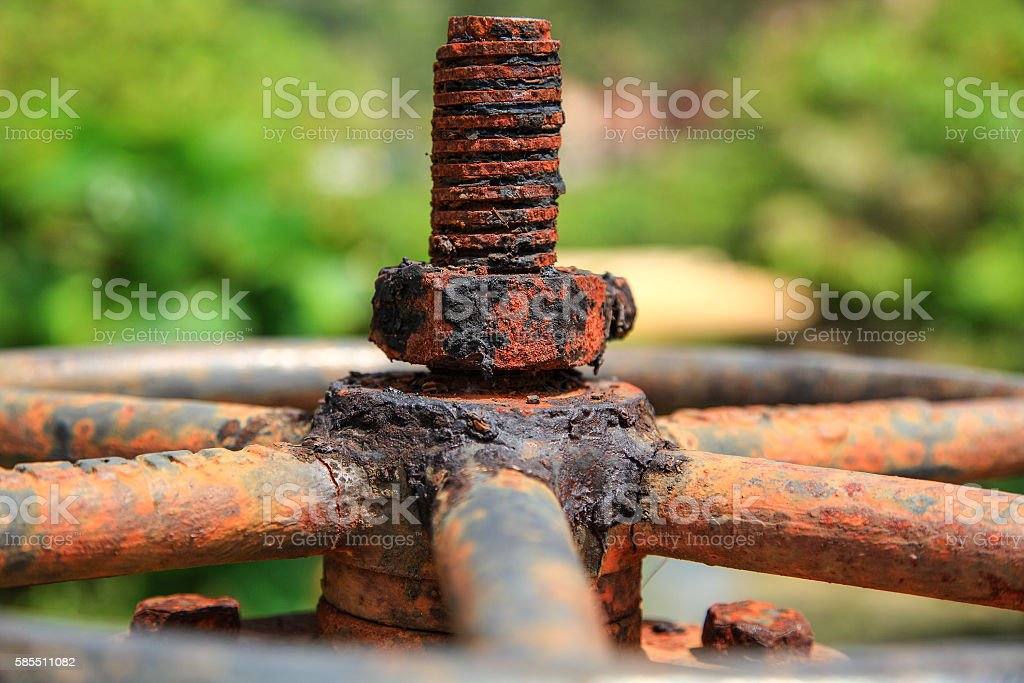 Large rusty valve with thread and nut. An aged  dirty stock photo