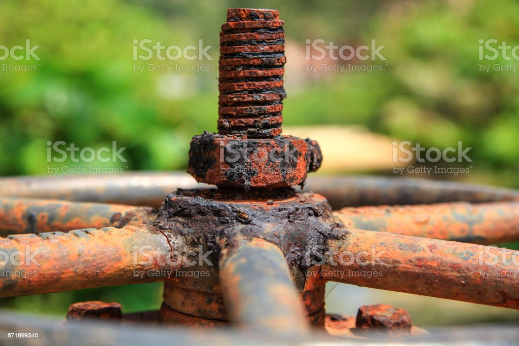 Large rusty valve with thread and nut. An aged  dirty piece of plumbing. stock photo