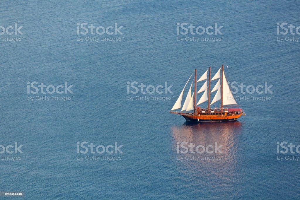 Large Sailboat, Santorini stock photo